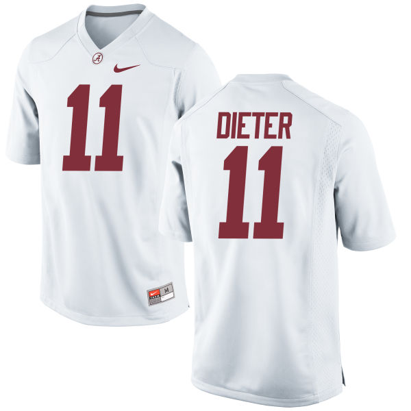 Men's Nike Gehrig Dieter Alabama Crimson Tide Replica White Jersey
