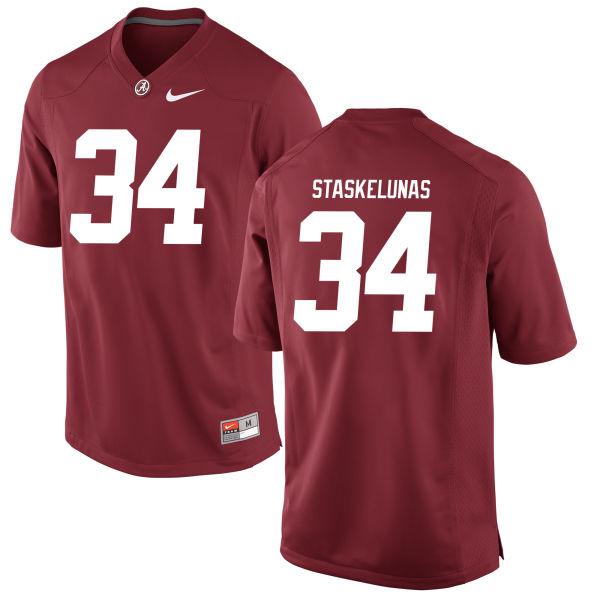 Men's Nate Staskelunas Alabama Crimson Tide Game Crimson Jersey