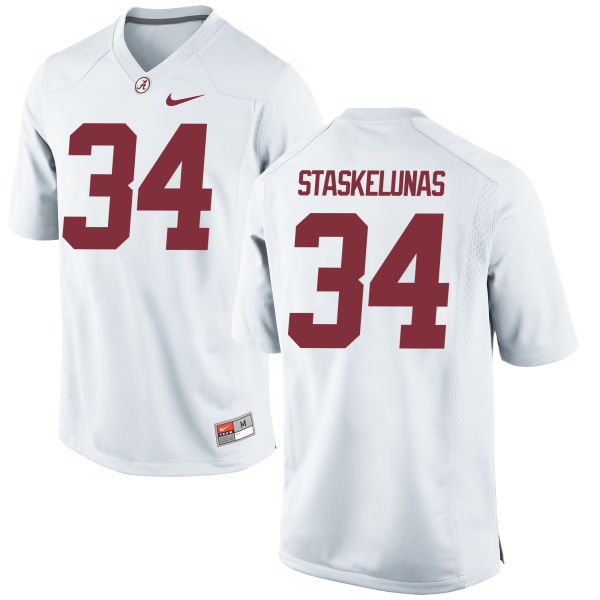 Men's Nike Nate Staskelunas Alabama Crimson Tide Game White Jersey