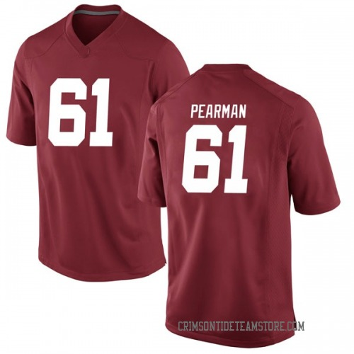 Men's Nike Alex Pearman Alabama Crimson Tide Game Crimson Football College Jersey
