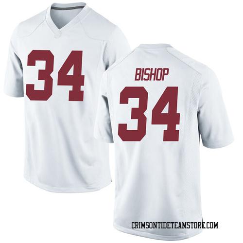 Men's Nike Brandon Bishop Alabama Crimson Tide Game White Football College Jersey