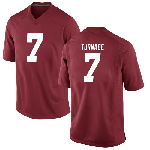 Men's Nike Brandon Turnage Alabama Crimson Tide Game Crimson Football College Jersey