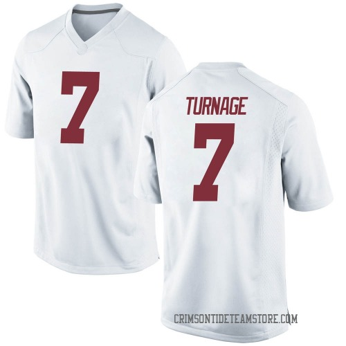 Men's Nike Brandon Turnage Alabama Crimson Tide Game White Football College Jersey