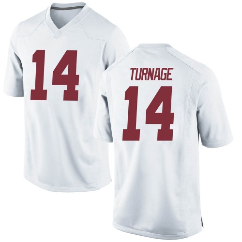 Men's Nike Brandon Turnage Alabama Crimson Tide Replica White Football College Jersey