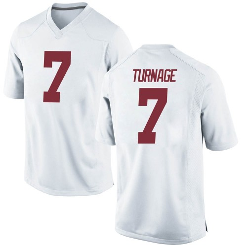 Men's Nike Brandon Turnage Alabama Crimson Tide Replica White Football College Jersey