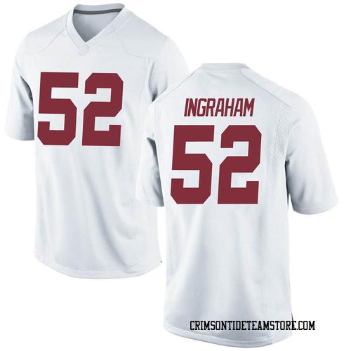 Men's Nike Braylen Ingraham Alabama Crimson Tide Replica White Football College Jersey