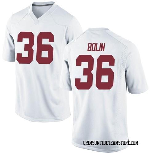 Men's Nike Bret Bolin Alabama Crimson Tide Replica White Football College Jersey