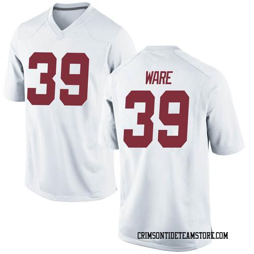 Men's Nike Carson Ware Alabama Crimson Tide Replica White Football College Jersey