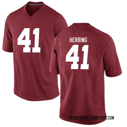 Men's Nike Chris Herring Alabama Crimson Tide Game Crimson Football College Jersey