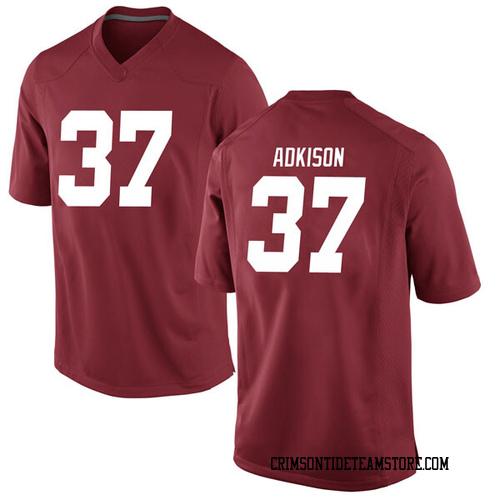 Men's Nike Dalton Adkison Alabama Crimson Tide Game Crimson Football College Jersey