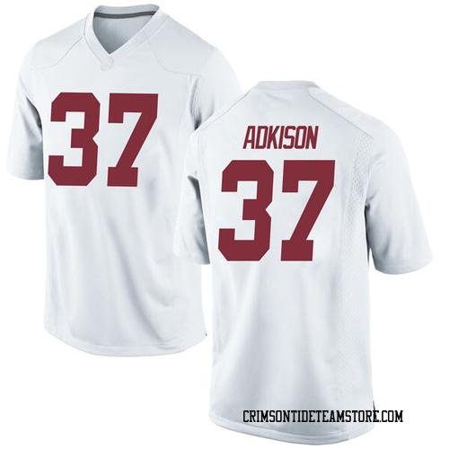 Men's Nike Dalton Adkison Alabama Crimson Tide Game White Football College Jersey