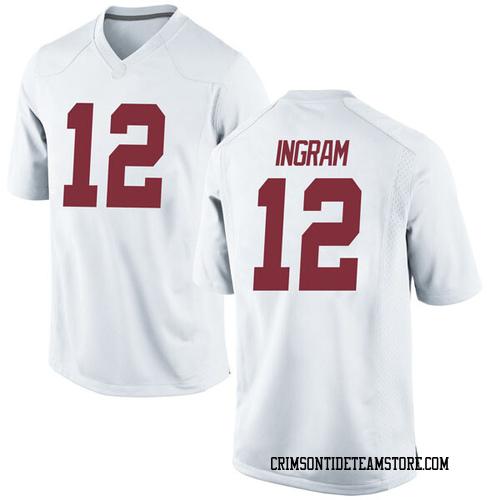 Men's Nike Dazon Ingram Alabama Crimson Tide Game White Football College Jersey