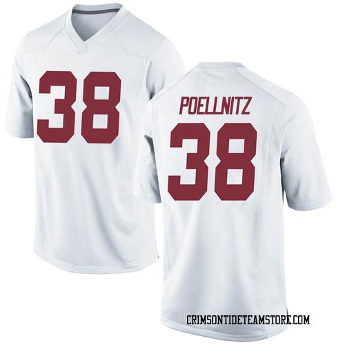 Men's Nike Eric Poellnitz Alabama Crimson Tide Game White Football College Jersey