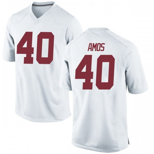 Men's Nike Giles Amos Alabama Crimson Tide Replica White Football College Jersey
