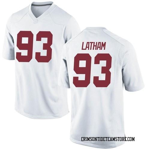 Men's Nike Jah-Marien Latham Alabama Crimson Tide Game White Football College Jersey