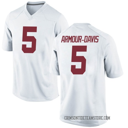 Men's Nike Jalyn Armour-Davis Alabama Crimson Tide Game White Football College Jersey
