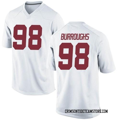 Men's Nike Jamil Burroughs Alabama Crimson Tide Replica White Football College Jersey