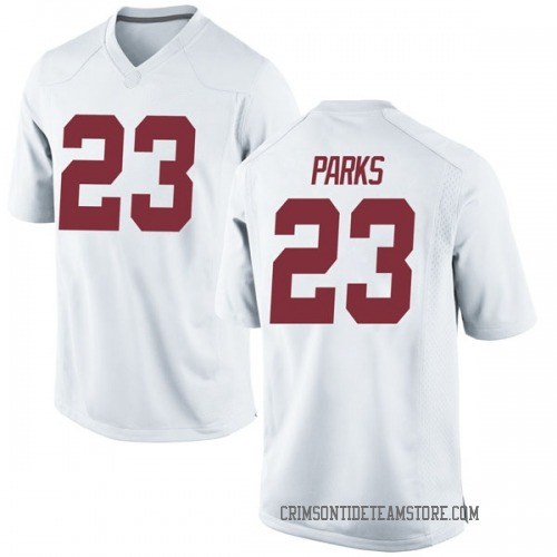 Men's Nike Jarez Parks Alabama Crimson Tide Game White Football College Jersey