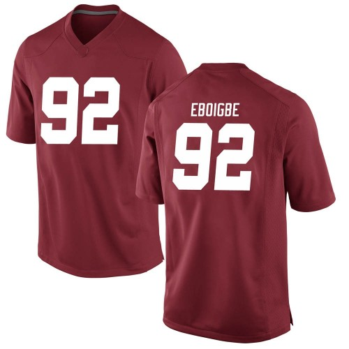 Men's Nike Justin Eboigbe Alabama Crimson Tide Game Crimson Football College Jersey