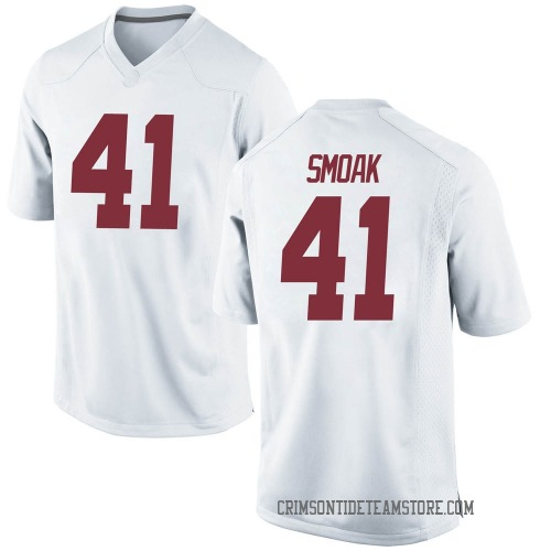 Men's Nike Kyle Smoak Alabama Crimson Tide Game White Football College Jersey