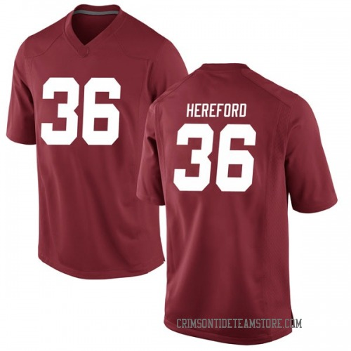 Men's Nike Mac Hereford Alabama Crimson Tide Game Crimson Football College Jersey