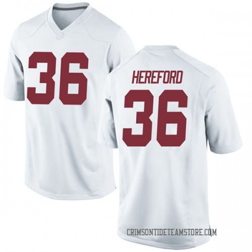Men's Nike Mac Hereford Alabama Crimson Tide Replica White Football College Jersey
