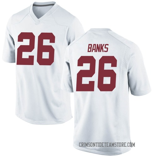 Men's Nike Marcus Banks Alabama Crimson Tide Replica White Football College Jersey