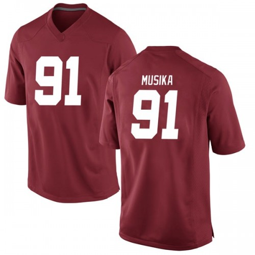 Men's Nike Tevita Musika Alabama Crimson Tide Game Crimson Football College Jersey