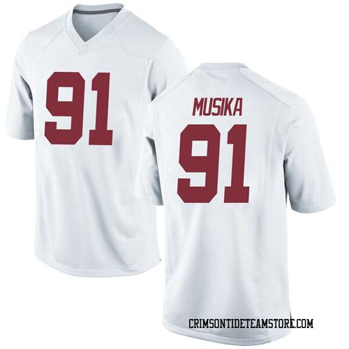 Men's Nike Tevita Musika Alabama Crimson Tide Game White Football College Jersey