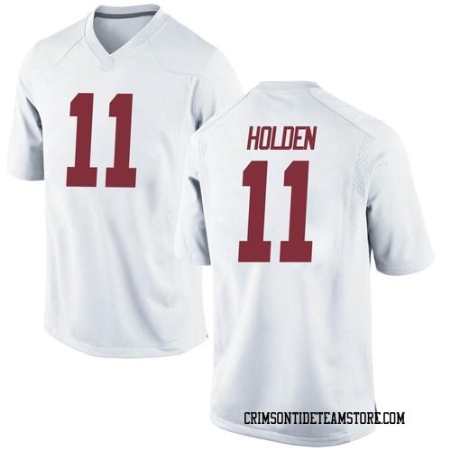 Men's Nike Traeshon Holden Alabama Crimson Tide Game White Football College Jersey