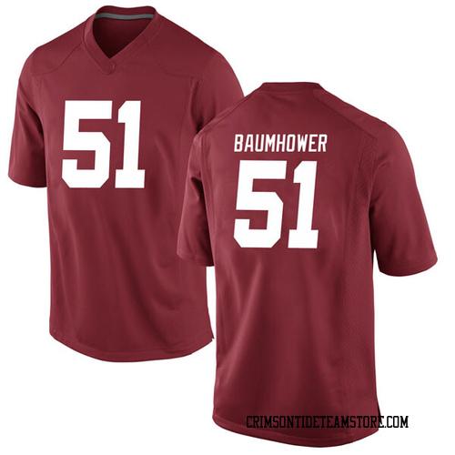 Men's Nike Wes Baumhower Alabama Crimson Tide Game Crimson Football College Jersey