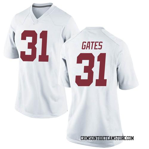 Women's Nike A.J. Gates Alabama Crimson Tide Replica White Football College Jersey