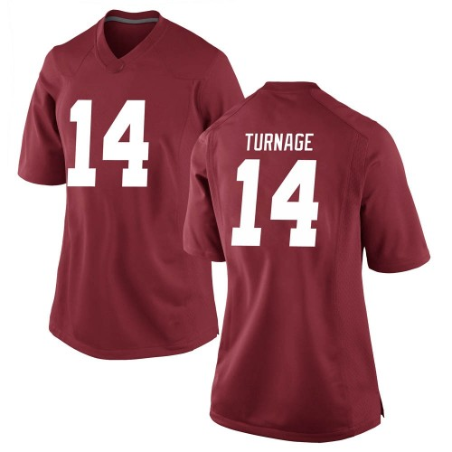 Women's Nike Brandon Turnage Alabama Crimson Tide Game Crimson Football College Jersey