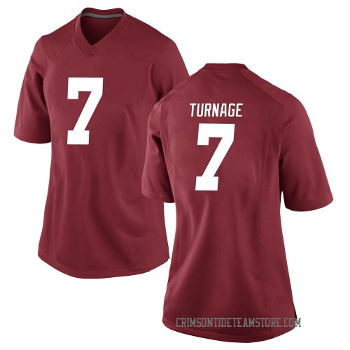 Women's Nike Brandon Turnage Alabama Crimson Tide Game Crimson Football College Jersey