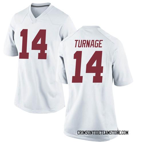 Women's Nike Brandon Turnage Alabama Crimson Tide Game White Football College Jersey