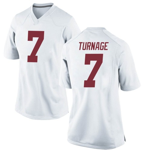 Women's Nike Brandon Turnage Alabama Crimson Tide Replica White Football College Jersey