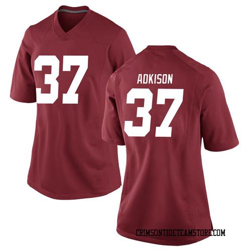 Women's Nike Dalton Adkison Alabama Crimson Tide Game Crimson Football College Jersey