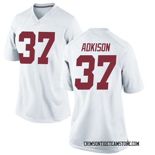 Women's Nike Dalton Adkison Alabama Crimson Tide Replica White Football College Jersey