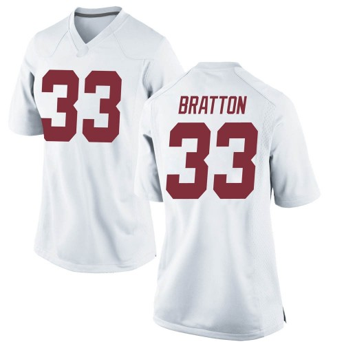 Women's Nike Jackson Bratton Alabama Crimson Tide Game White Football College Jersey