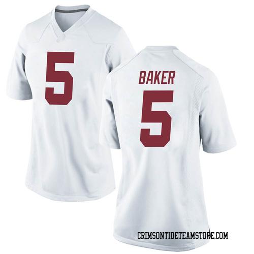 Women's Nike Javon Baker Alabama Crimson Tide Replica White Football College Jersey