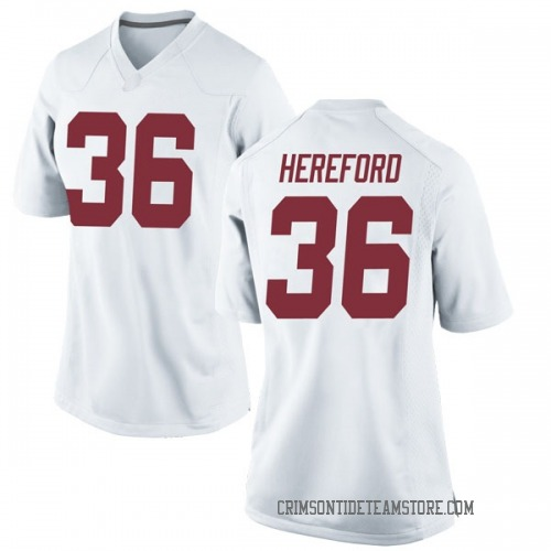 Women's Nike Mac Hereford Alabama Crimson Tide Replica White Football College Jersey