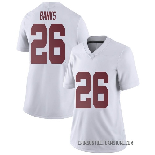 Women's Nike Marcus Banks Alabama Crimson Tide Limited White Football College Jersey