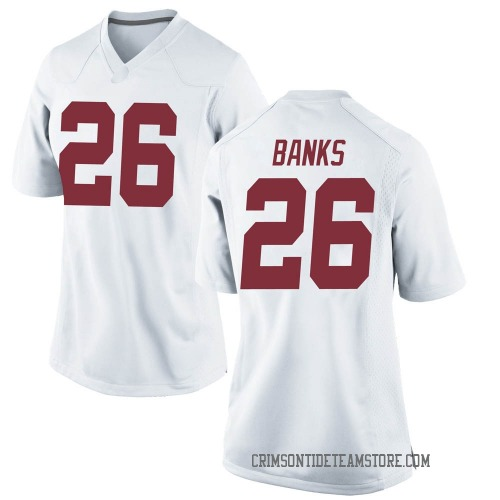 Women's Nike Marcus Banks Alabama Crimson Tide Replica White Football College Jersey