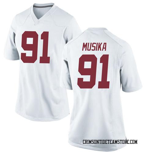 Women's Nike Tevita Musika Alabama Crimson Tide Replica White Football College Jersey