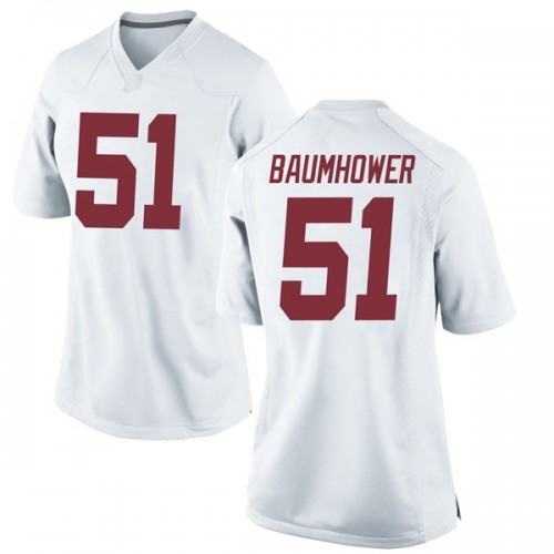Women's Nike Wes Baumhower Alabama Crimson Tide Game White Football College Jersey