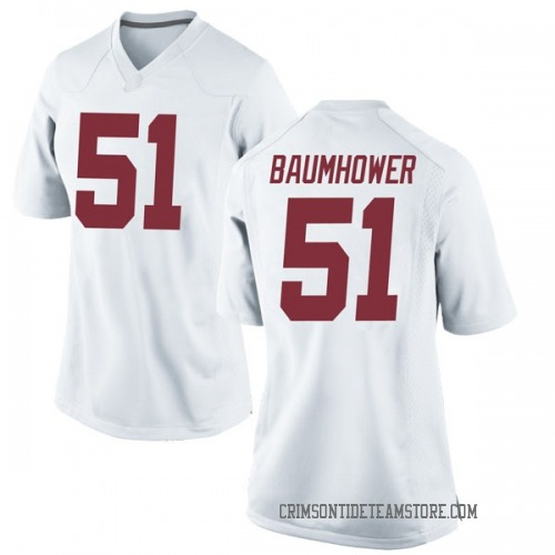 Women's Nike Wes Baumhower Alabama Crimson Tide Replica White Football College Jersey