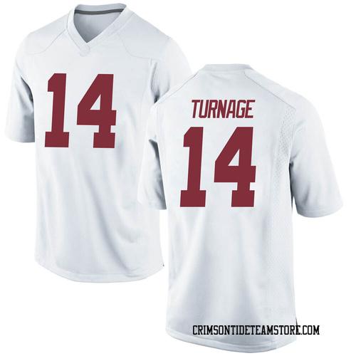 Youth Nike Brandon Turnage Alabama Crimson Tide Game White Football College Jersey