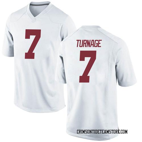 Youth Nike Brandon Turnage Alabama Crimson Tide Replica White Football College Jersey