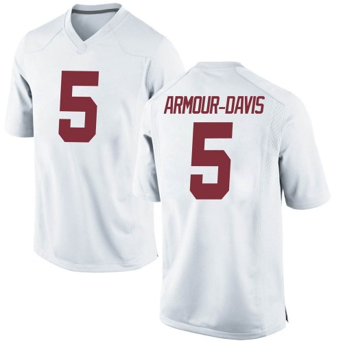 Youth Nike Jalyn Armour-Davis Alabama Crimson Tide Game White Football College Jersey