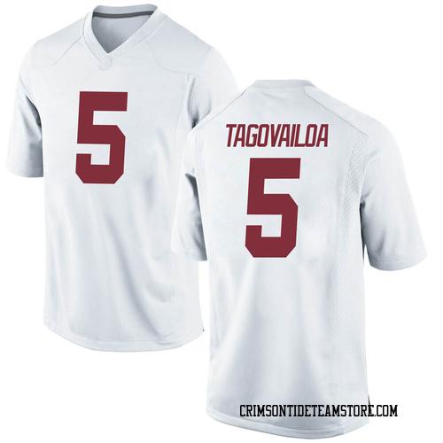 Youth Nike Taulia Tagovailoa Alabama Crimson Tide Game White Football College Jersey